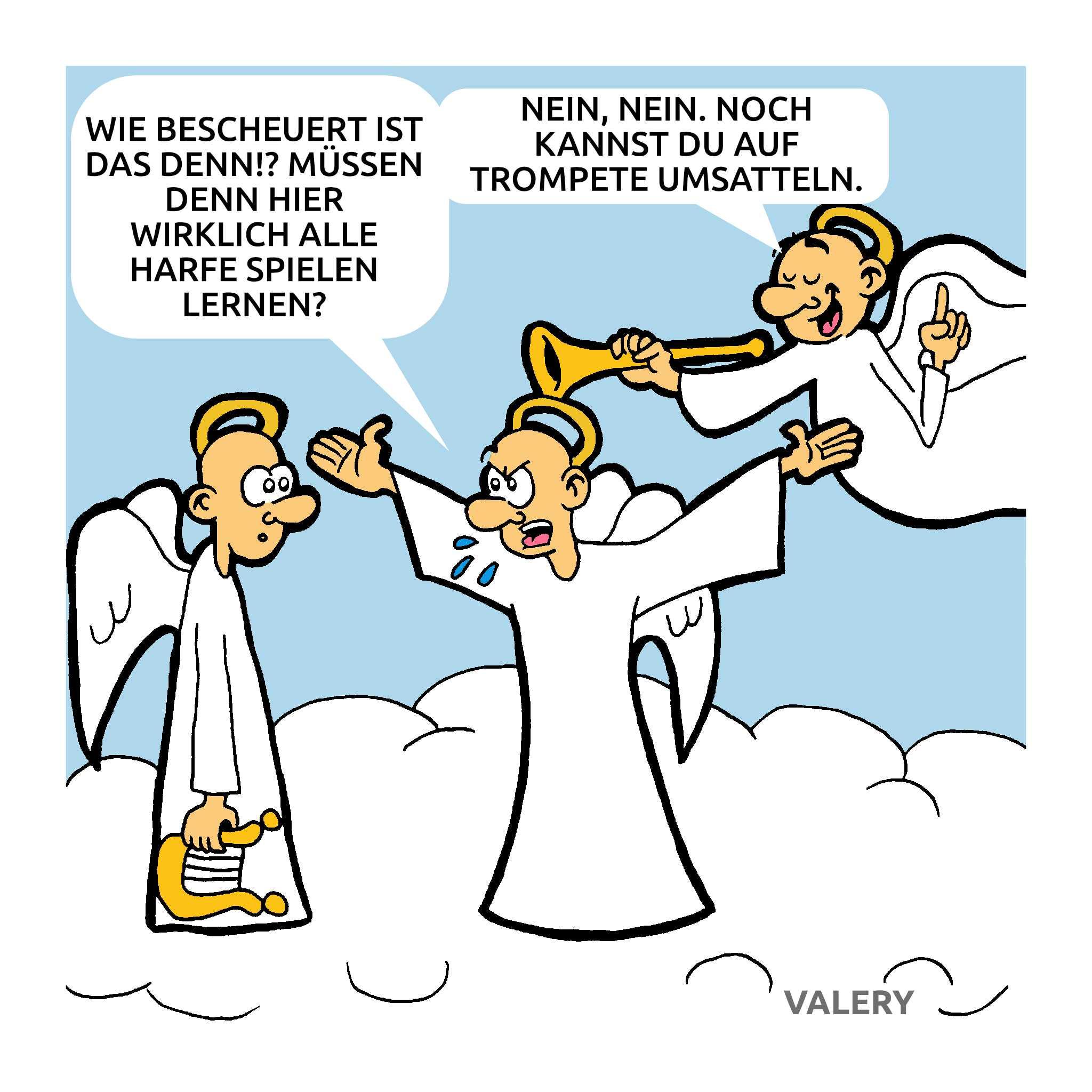 Engel Instrumente Harfe Trompete Himmel Cartoon