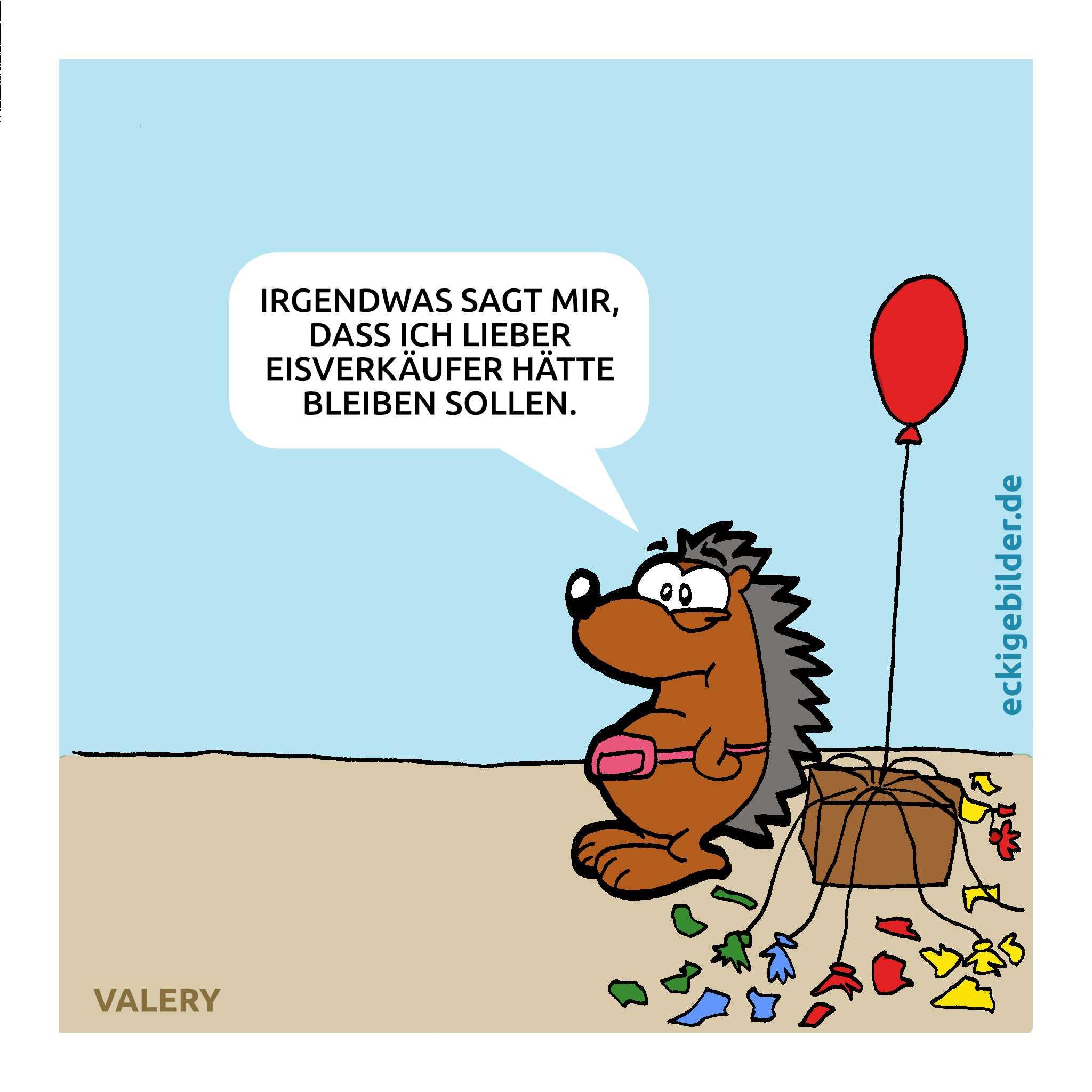 Igel Luftballonverkäufer/ Eisverkäufer Cartoon