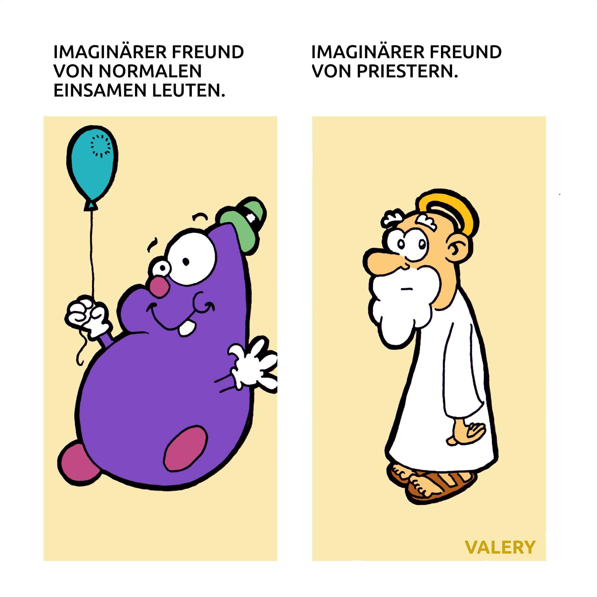 Imaginärer Freund Gott Cartoon