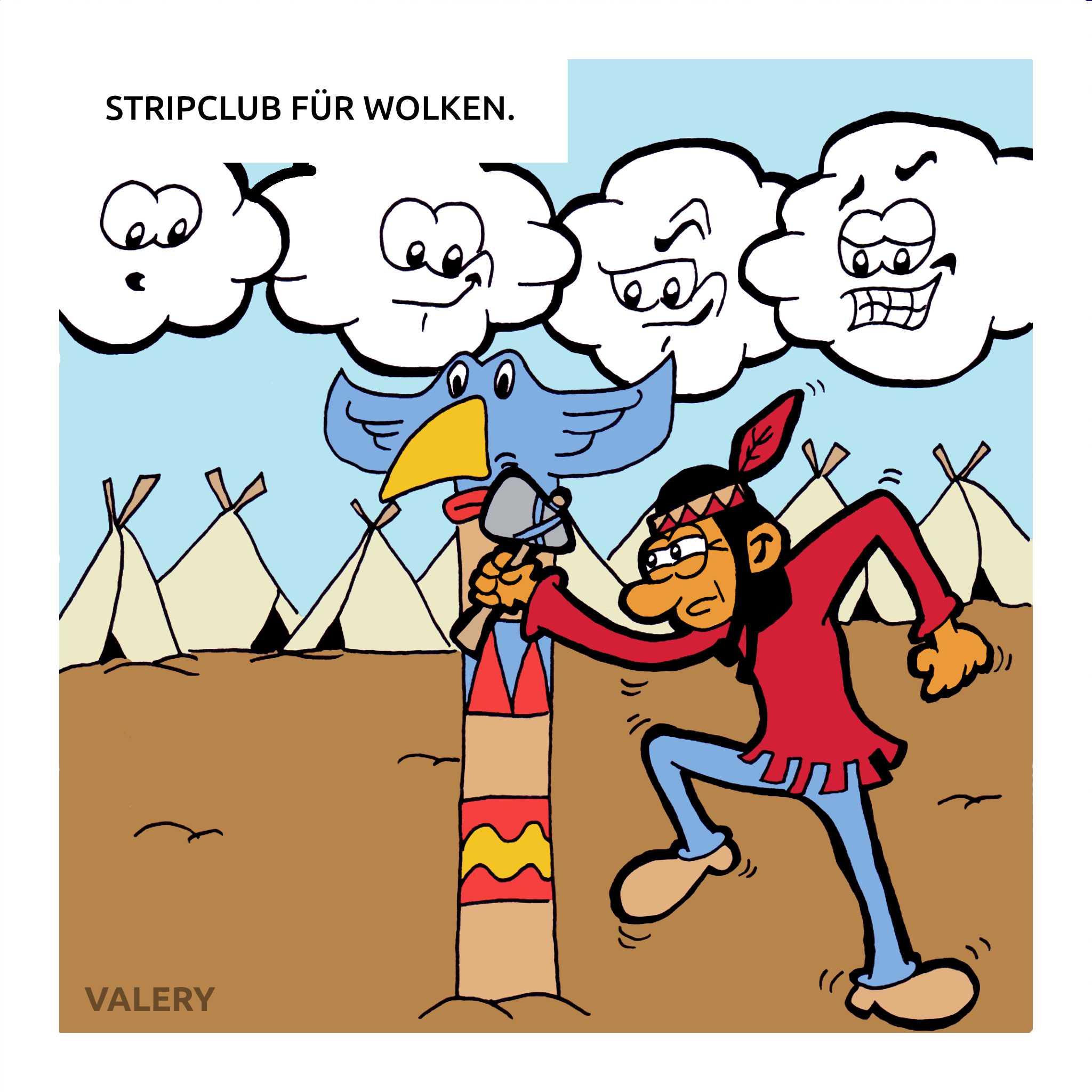 Indianer Wolken Strip Cartoon