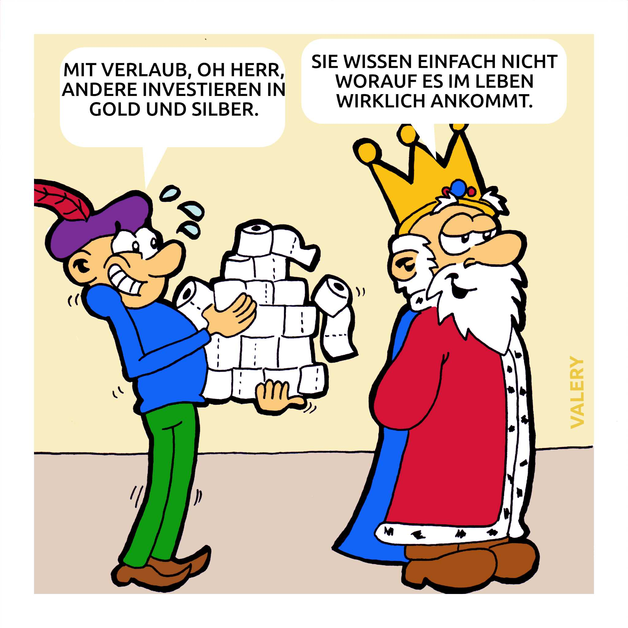 König Toilettenpapier Diener Cartoon