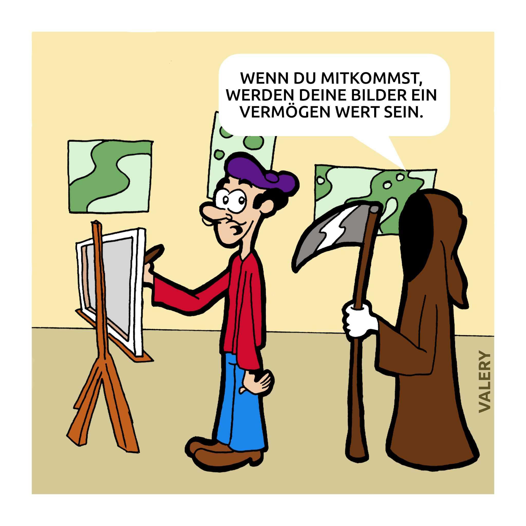 Künstler Tod Cartoon