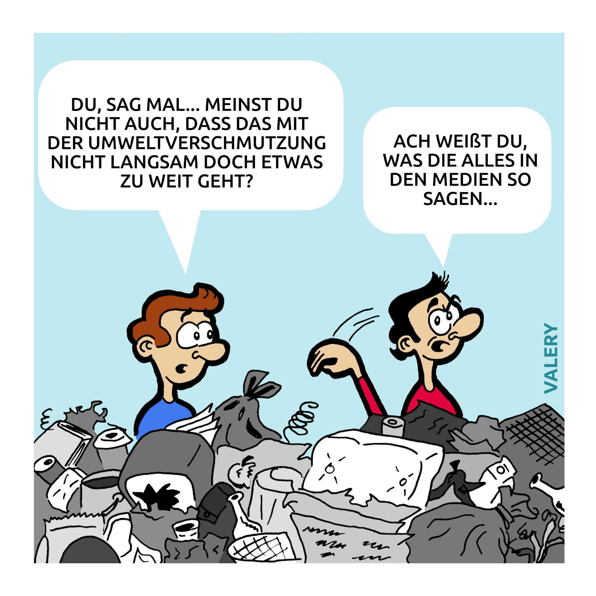Müll Umweltverschmutzung Cartoon