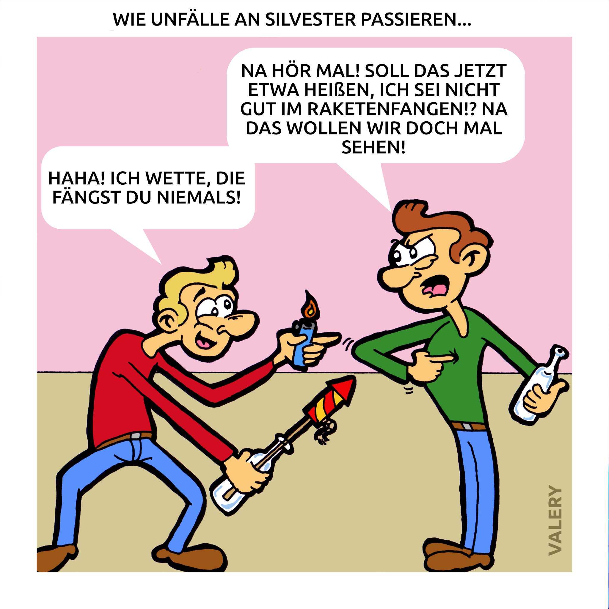 Silvester Betrunken Raketen Unfall Cartoon