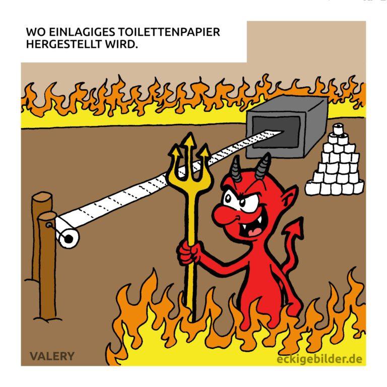 Teufel Toilettenpapier Cartoon