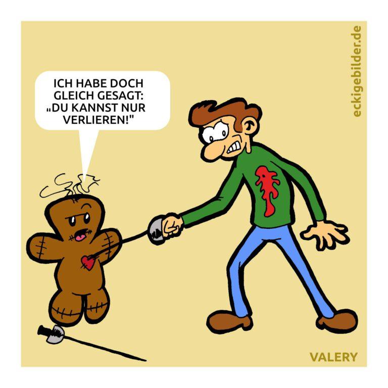 Voodoo-Puppe Fechten Cartoon