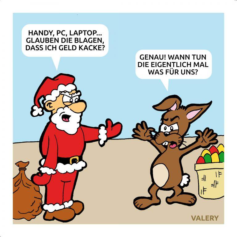 Weihnachtsmann Osterhase Cartoon