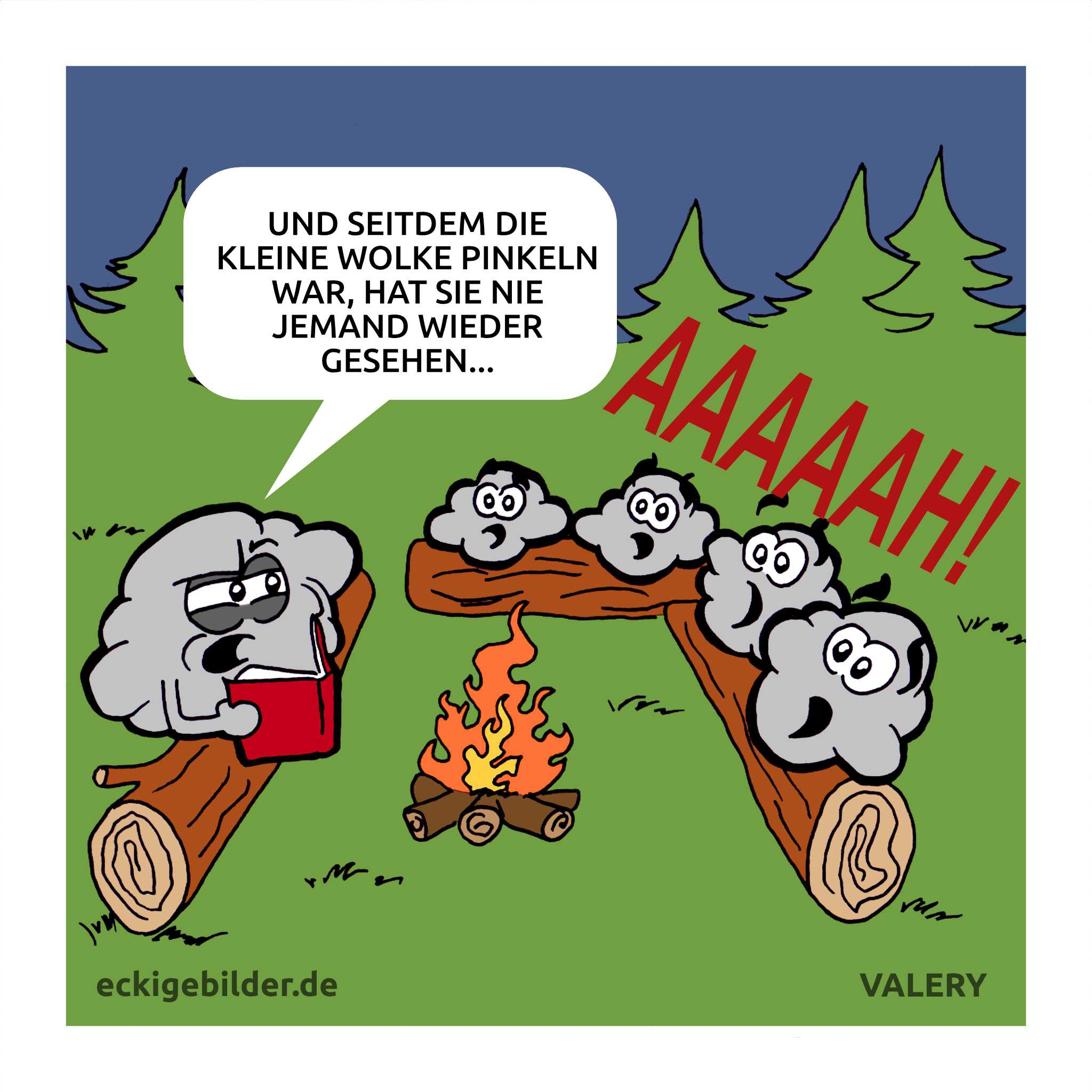 Wolke Horrorgeschichte Lagerfeuer Cartoon