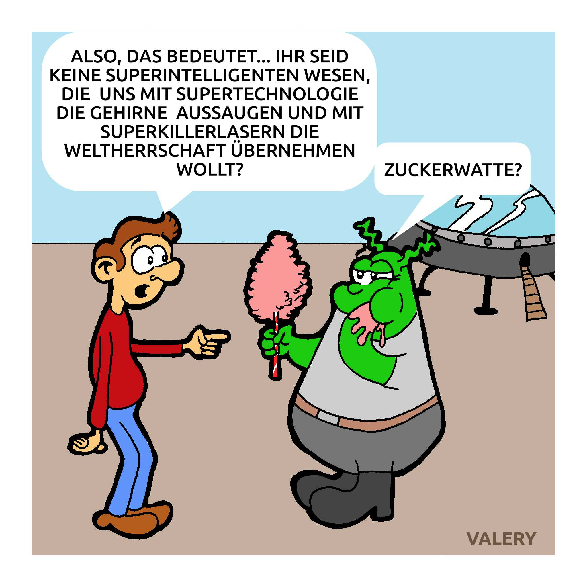 Alien Intelligent Zuckerwatte Cartoon