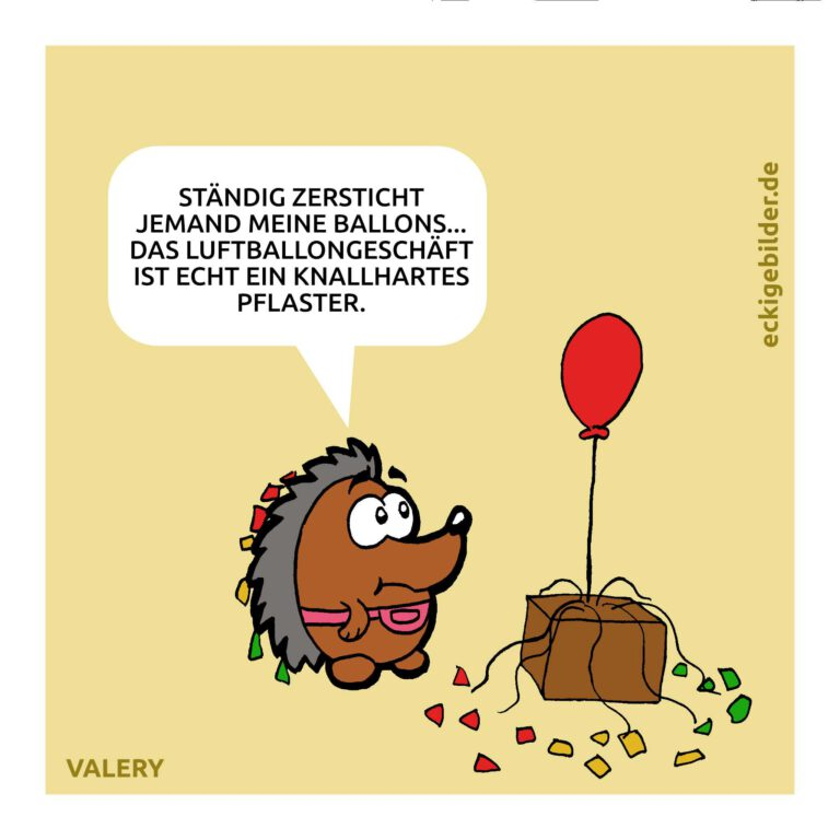 Igel Luftballonverkäufer Cartoon