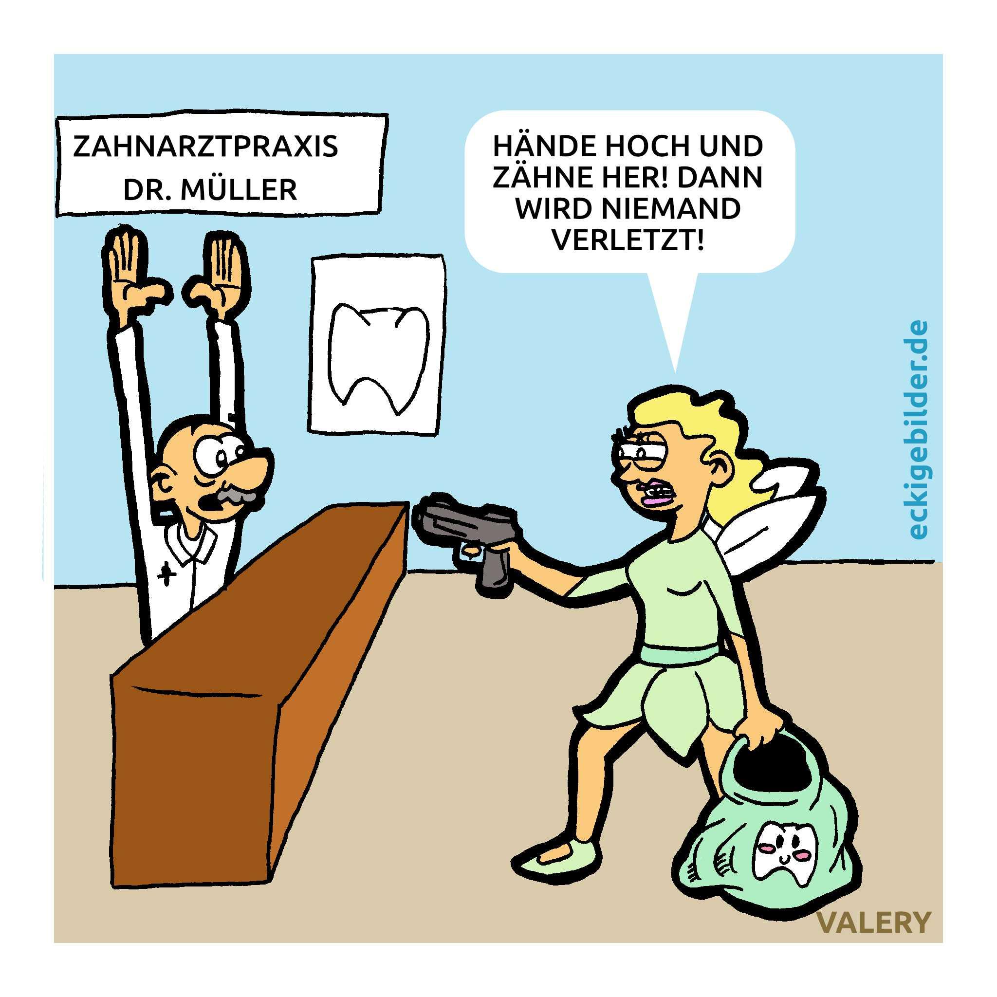 Zahnfee Überfall Cartoon
