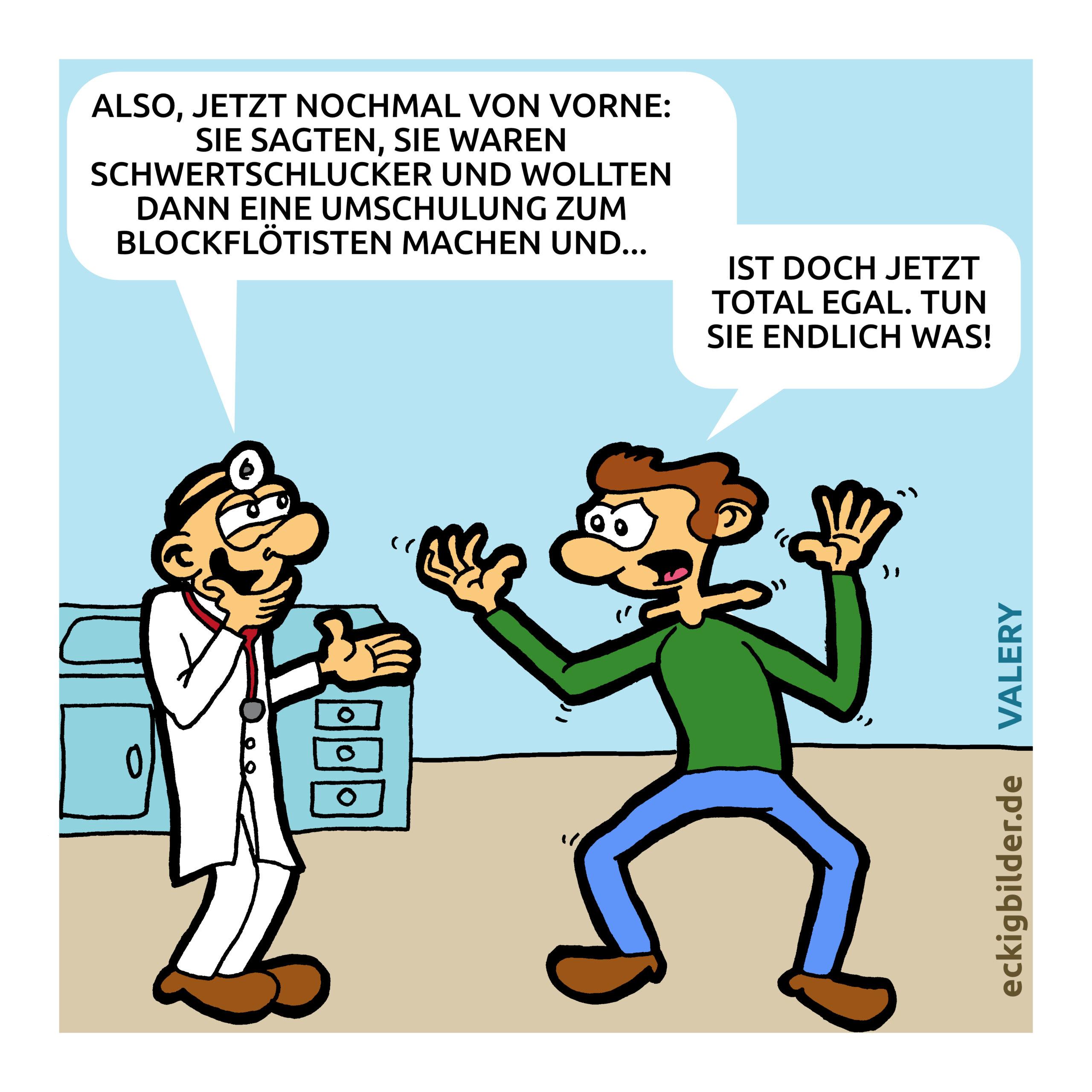 Schwertschlucker Blockflötist Cartoon