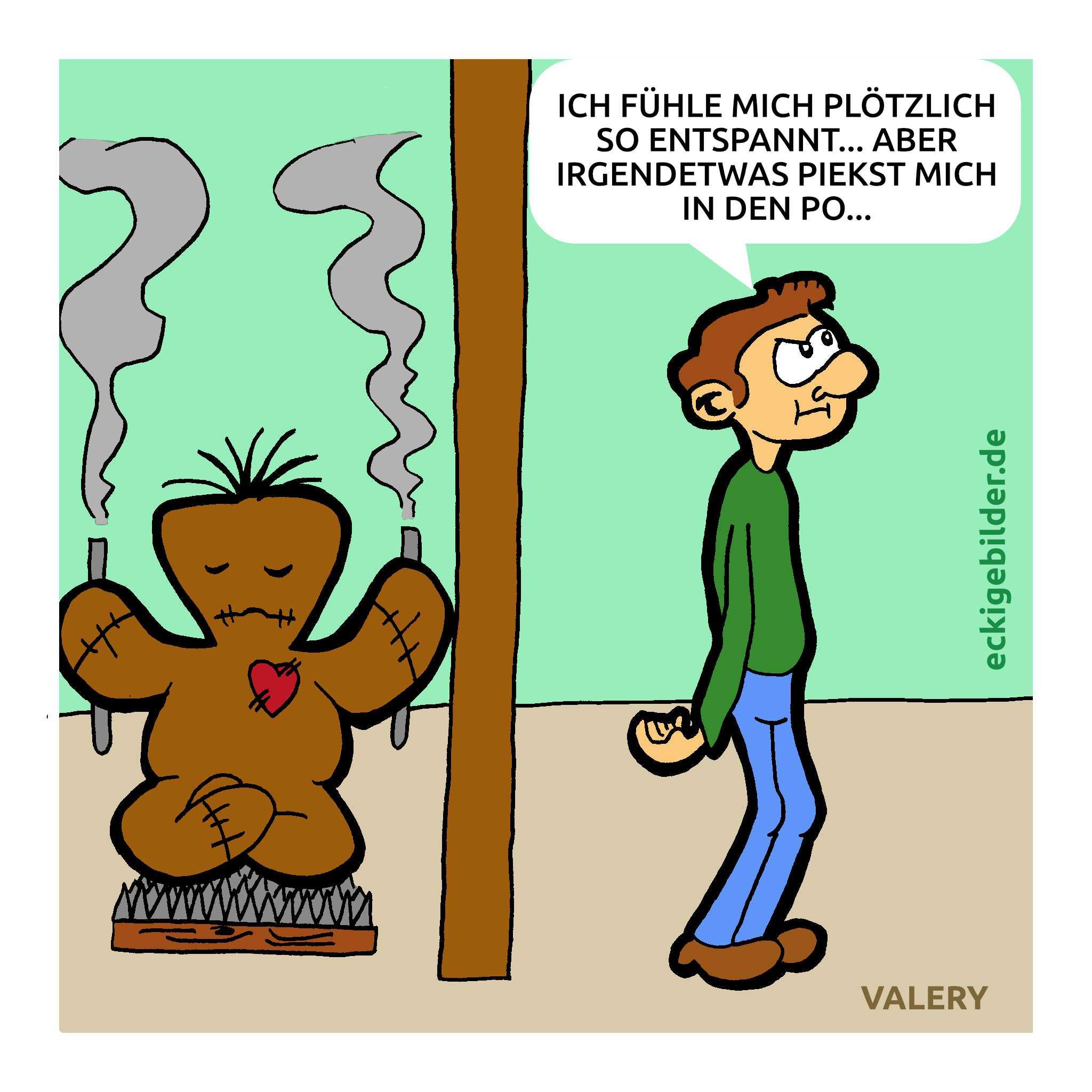 Voodoo-Puppe Meditation Cartoon