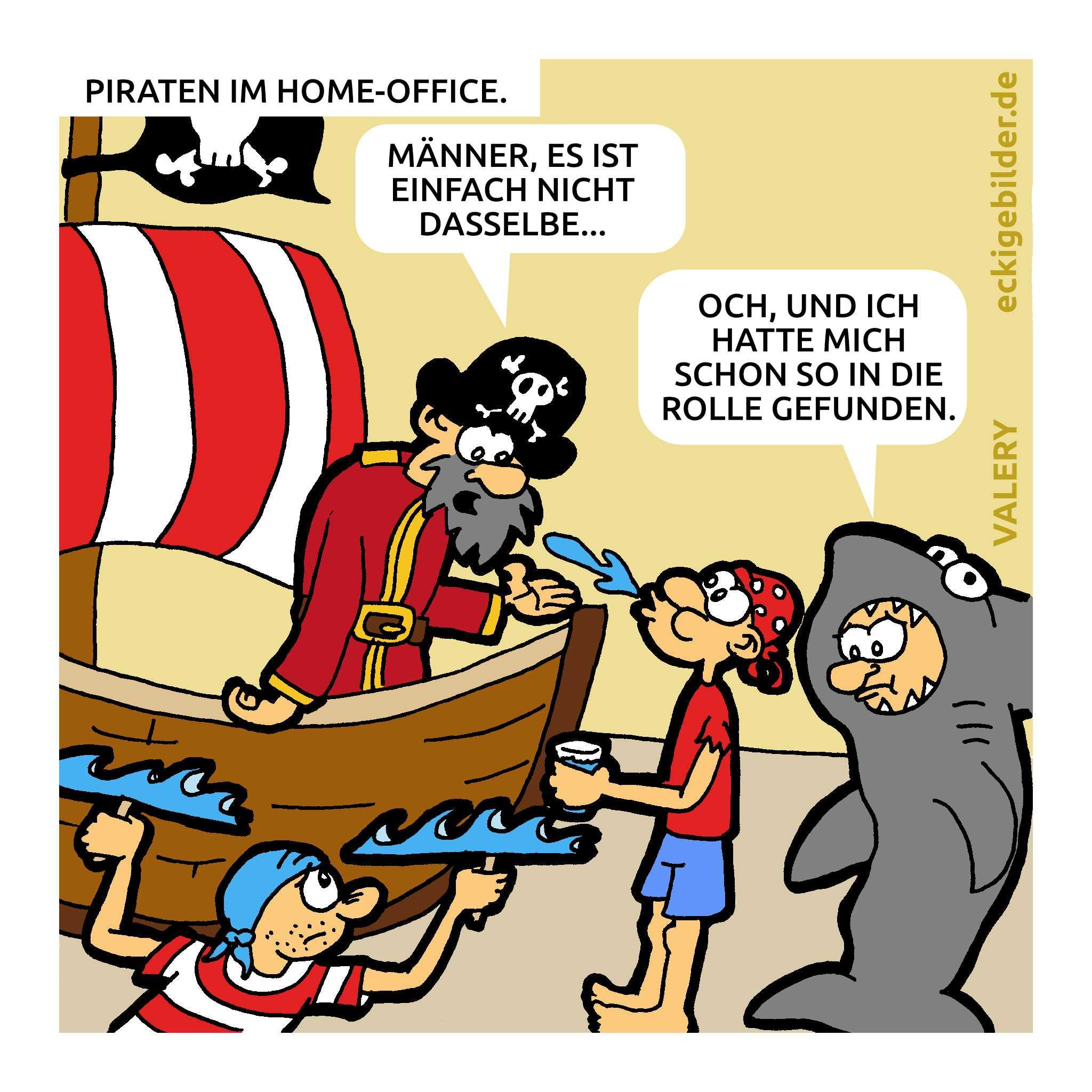 Piraten Home-Office Cartoon