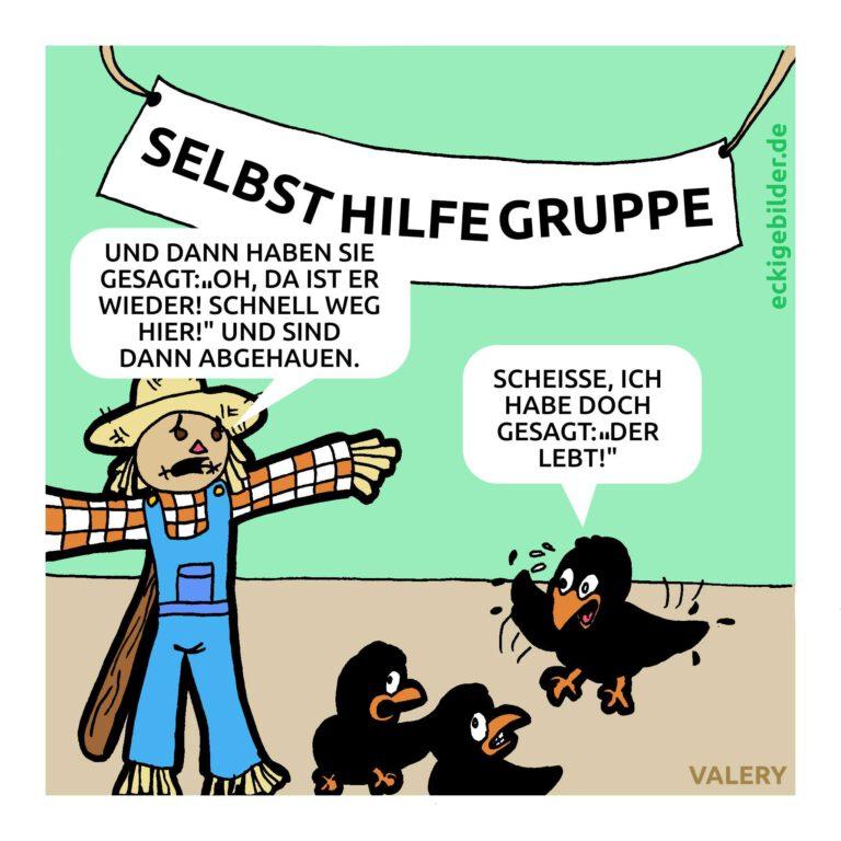 Selbsthilfegruppe Vogelscheuche Cartoon