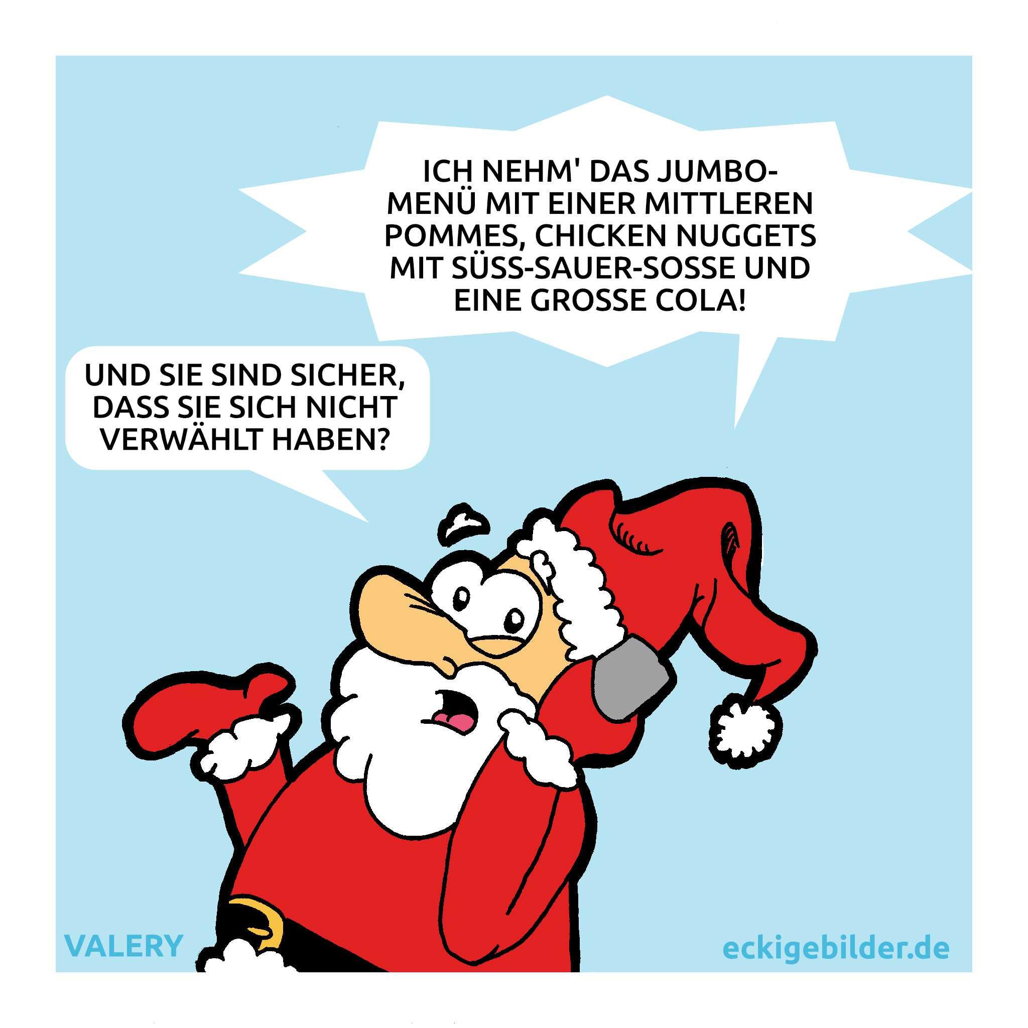 Weihnachtsmann Bestellung Cartoon